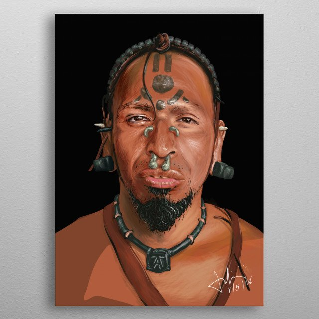 a vector portrait of a movie character from the movie Apocalypto wit a few tweaks metal poster