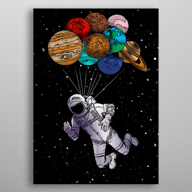 Astronaut flies away with planet balloons. It's a perfect gift for kids and for space shuttle and astronaut fans metal poster