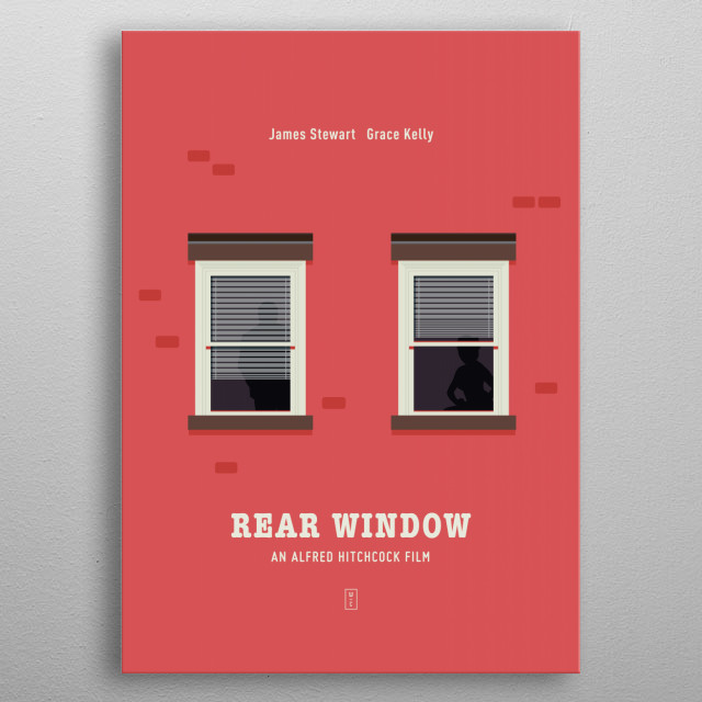 Rear Window in Red - Minimalist Movie Poster metal poster
