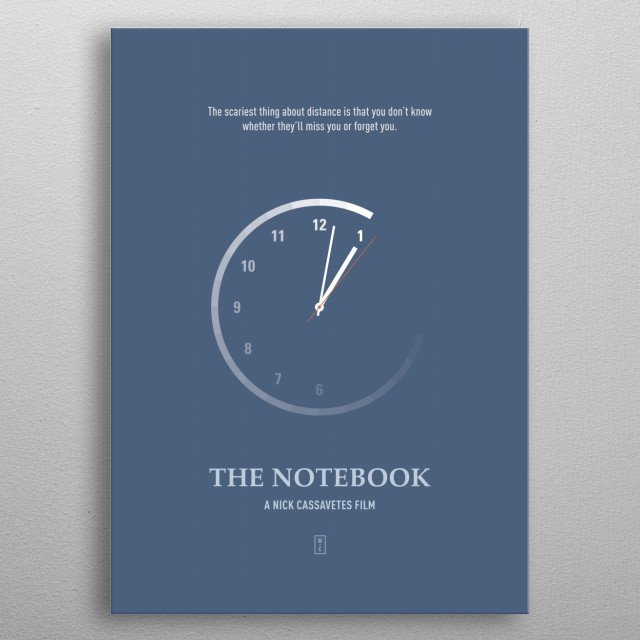 The Notebook Minimalist Movie Poster metal poster