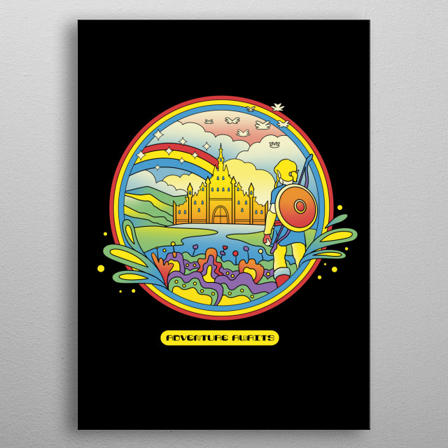 """""""Trippy Adventurer"""" psychedelic design inspired by the 70's psychedelic movement from artists like Heinz, Milton Glaser and Peter Max. metal poster"""