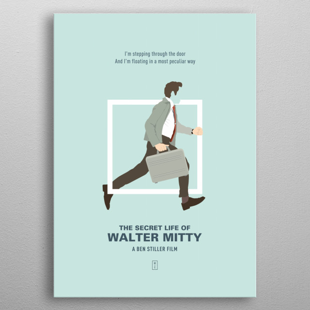 The Secret Life of Walter Mitty - Minimalist Movie Poster metal poster