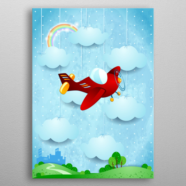 Surreal landscape with small city in background and vintage airplane. Fantasy illustration metal poster