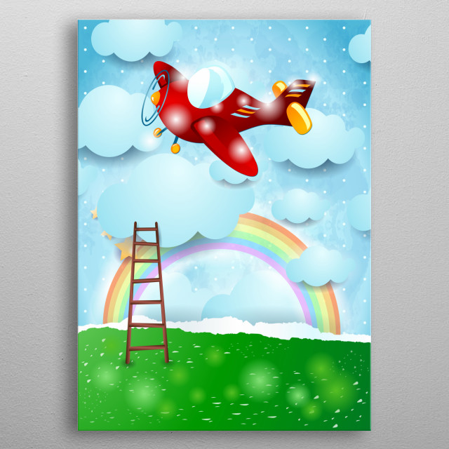 Fantasy paper landscape with airplane and scale. Surreal illustration metal poster