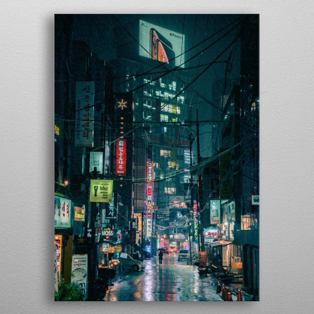 Seoul edges closer to a Cyberpunk reality. metal poster