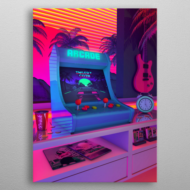 80's Aesthetic Nostalgia, A Retro Design That inspired by synthwave music scene. metal poster