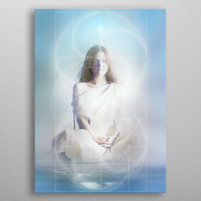 Maryam as a Colombe, Essene priestess, surrounded by a Sacred Geometry grid. metal poster