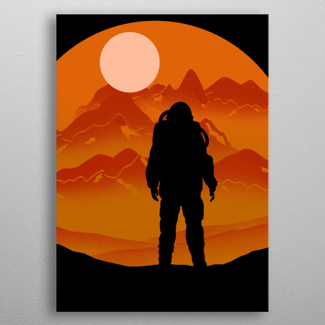 Astronaut on mars space shuttle with sun in the background is an awesome home decor for kid's room and kids boys or girls metal poster