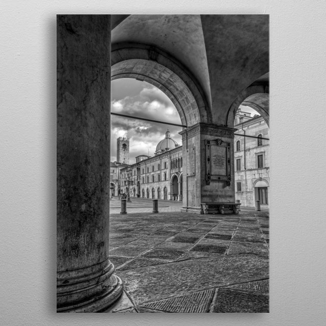 Italian city architecture metal poster