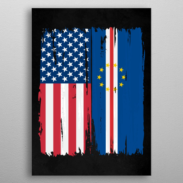 Usa Cape Verde Split Flag By Strang Metal