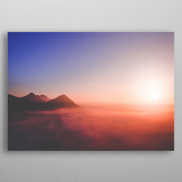A perfect sunrise at Pieniny Mountains in South of Poland. metal poster