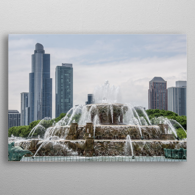 A fountain in a park in Chicago metal poster