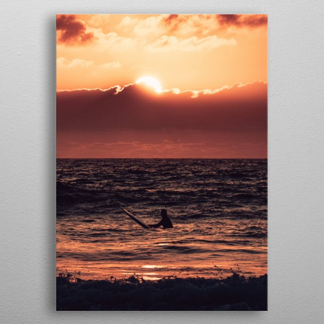 A lone surfer at the Pacific Ocean. San Diego, California. metal poster