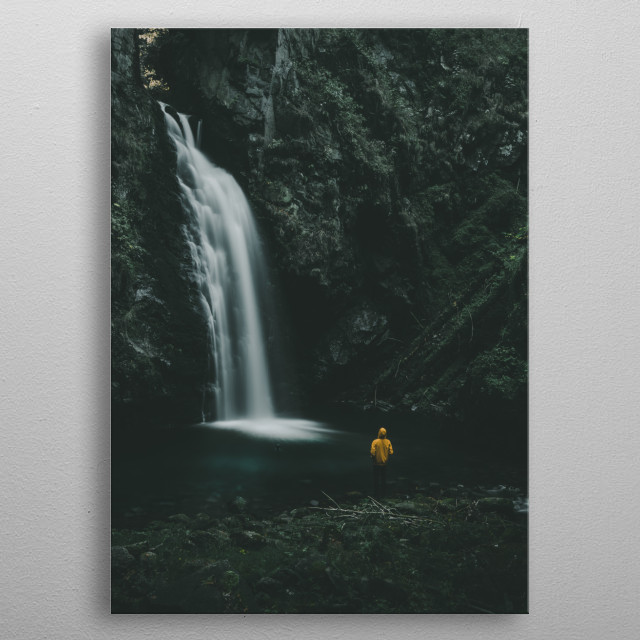 Waterfall Wilczki in South of Poland.  metal poster