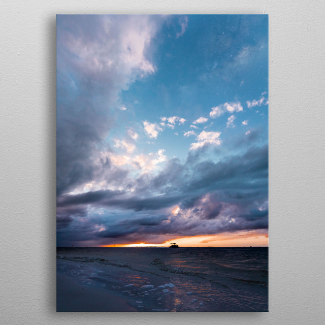 Waking up early to see the birds and hear the ocean's calmness is one of life's greatest pleasures. metal poster