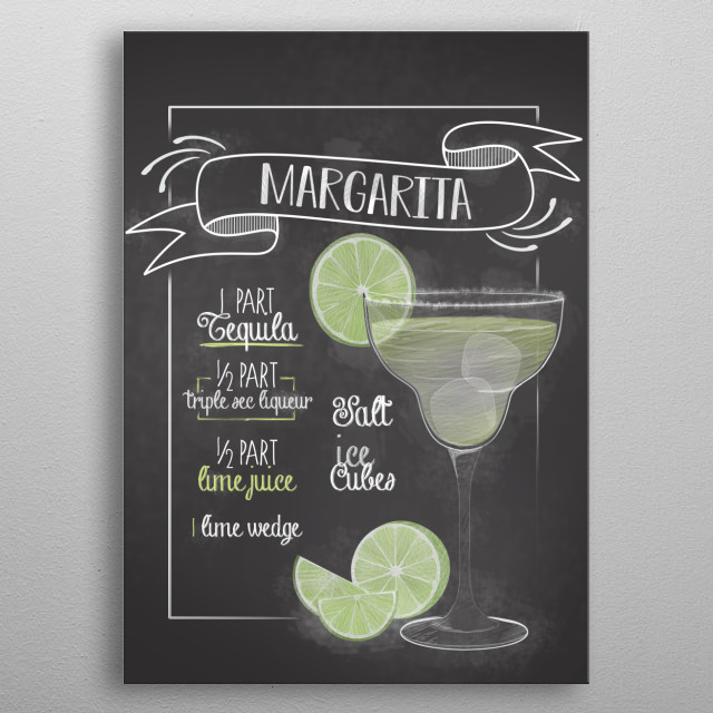 The perfect displate for bars kitchen restaurants and also home decor for living room. The Margarita Cocktail Recipe Sign is perfect metal poster