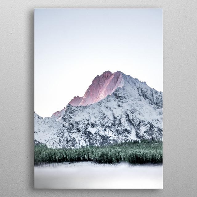 First light illuminating Tatra Mountains in Poland. metal poster
