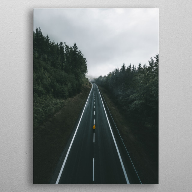 A road on a side of the Praded Mountain in Czech Republic. metal poster