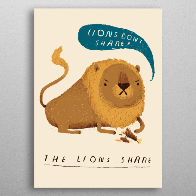 lions don't share! metal poster