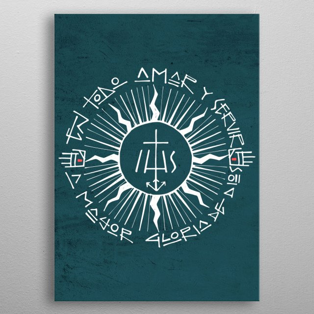 Hand drawn vector illustration or drawing of a religious christian jesuit symbol metal poster