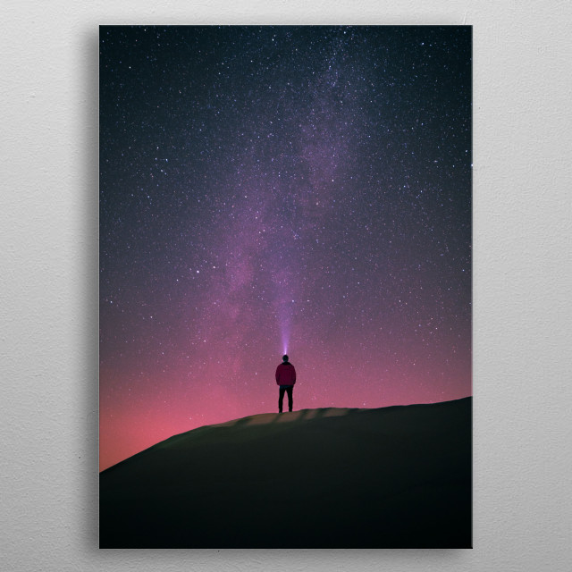 Observing the Milky Way at the sand dunes in Poland. metal poster