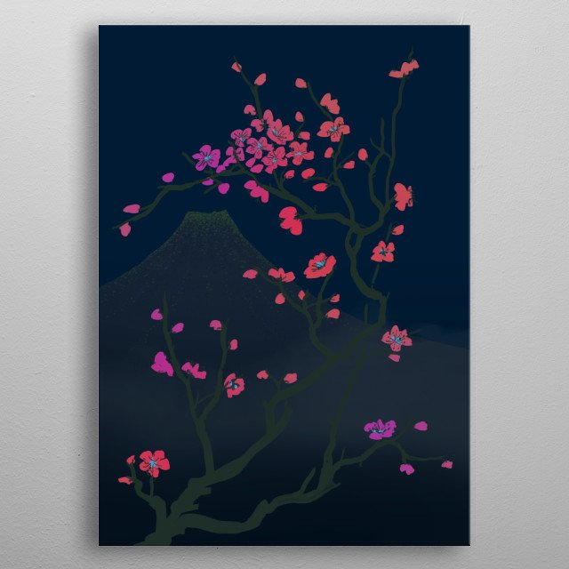 Flowers of the cherry tree blooming against a Japanese mountain by night. metal poster