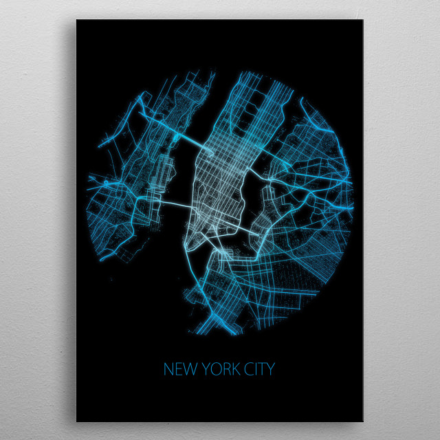 New York City Map metal poster