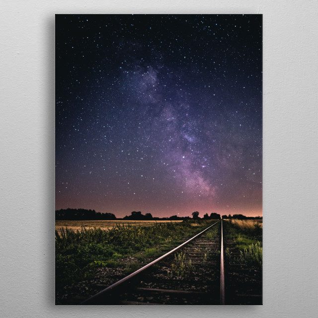 An abandoned railway in the middle of the night with perfect Milky Way visible. metal poster