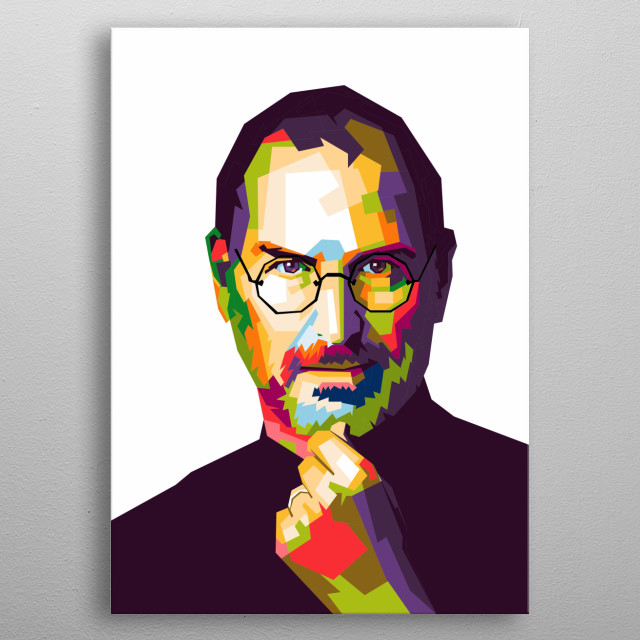 Steve Jobs in WPAP illustration. He is the founder of the international corporation Apple metal poster