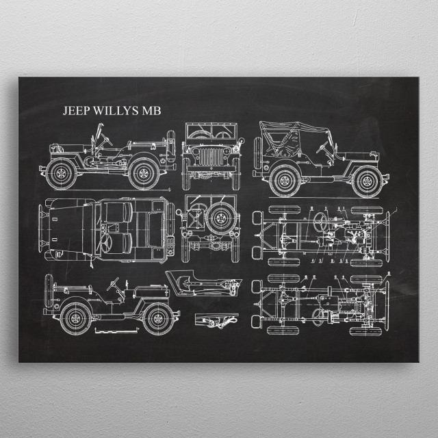 Jeep Willys MB - Patent Drawing metal poster