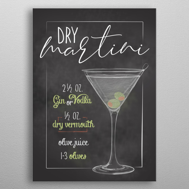 Cocktail Bar - Displates for every kitchen bars and people who just love cocktails. Dry Martini Canva Sign metal poster