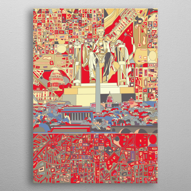 Washington dc skyline inspired by decorative,modern,abstract,pop art design metal poster