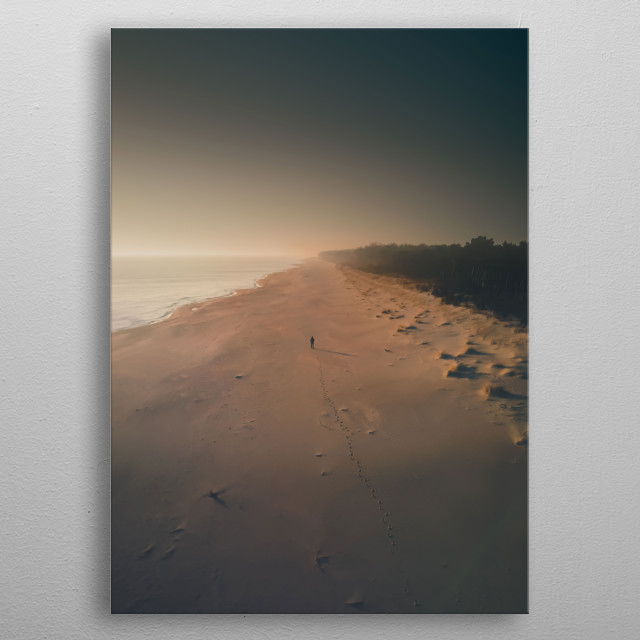 Sunrise at the Hel Peninsula in Poland. metal poster