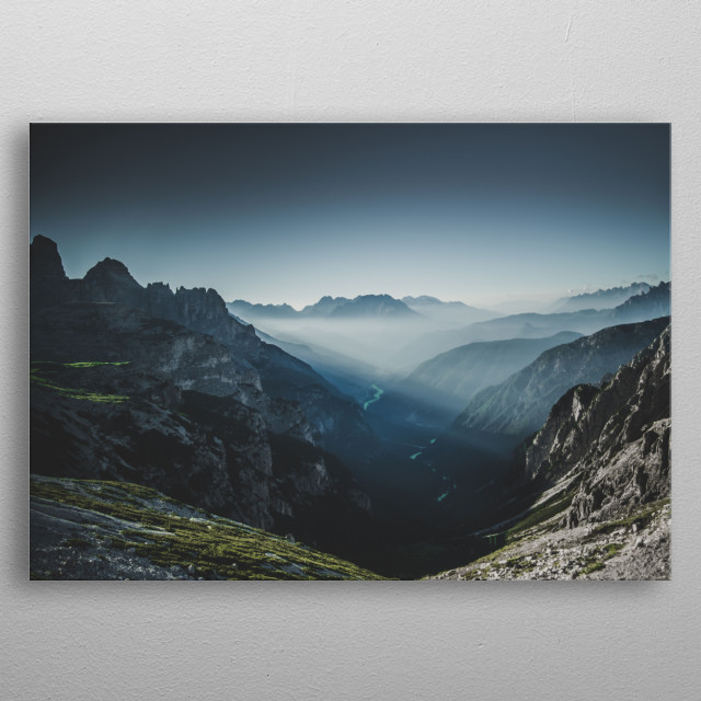Fantastic morning light at the Dolomites, Italy.  metal poster
