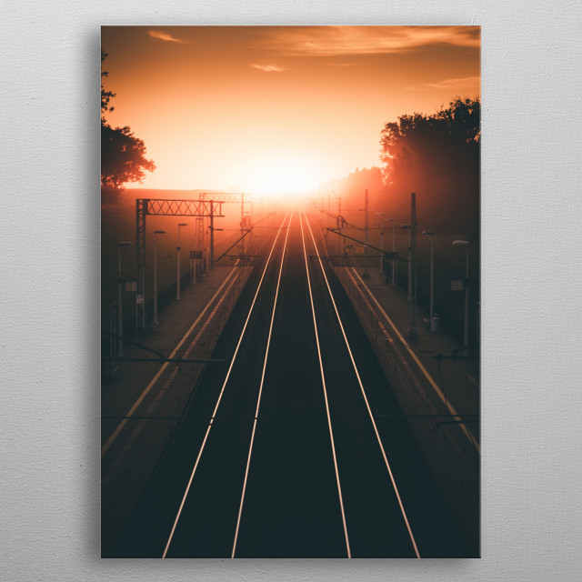 Perfect sunrise at the end of the railway.  metal poster