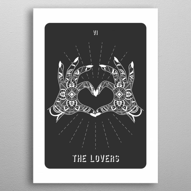 Minimal Tarot Deck The Lovers metal poster