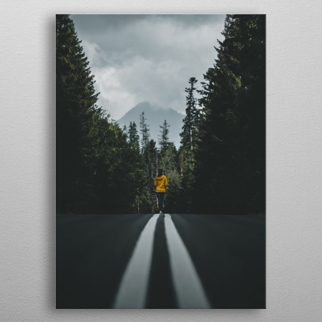 A beautiful mountain road in Tatry, Poland. metal poster