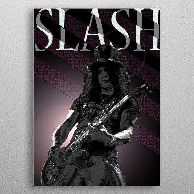 Illustration of the famous Slash playing guitar. metal poster