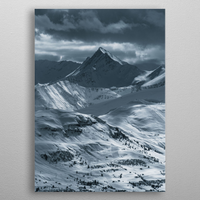 Cloudy sky in Swiss Alps. Right before the storm.  metal poster