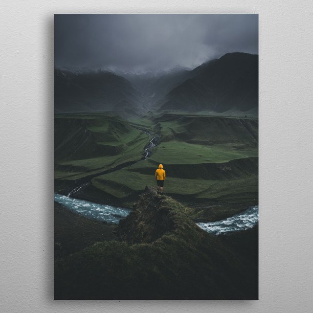 A stunning view over Terek river , north of Georgia.  metal poster