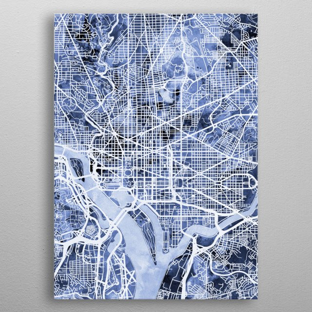 Watercolor street map of Washington DC, United States metal poster