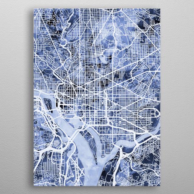 Watercolor street map of Washington DC, United States metal poster