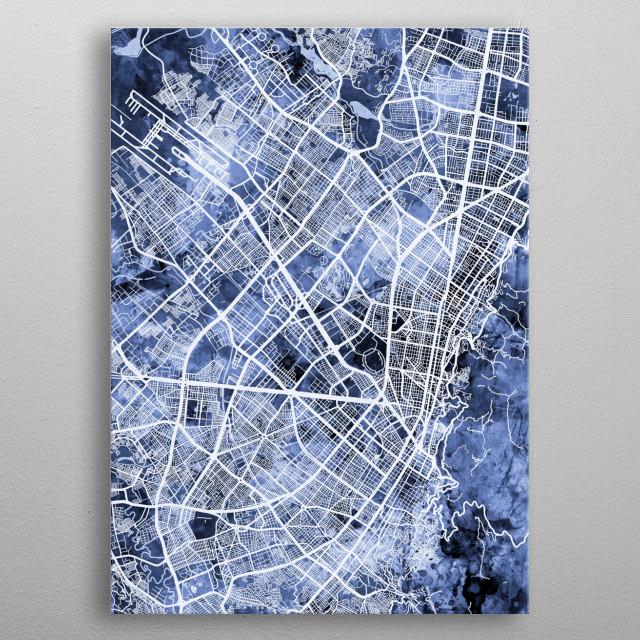 Watercolor street map of Bogota, Colombia metal poster