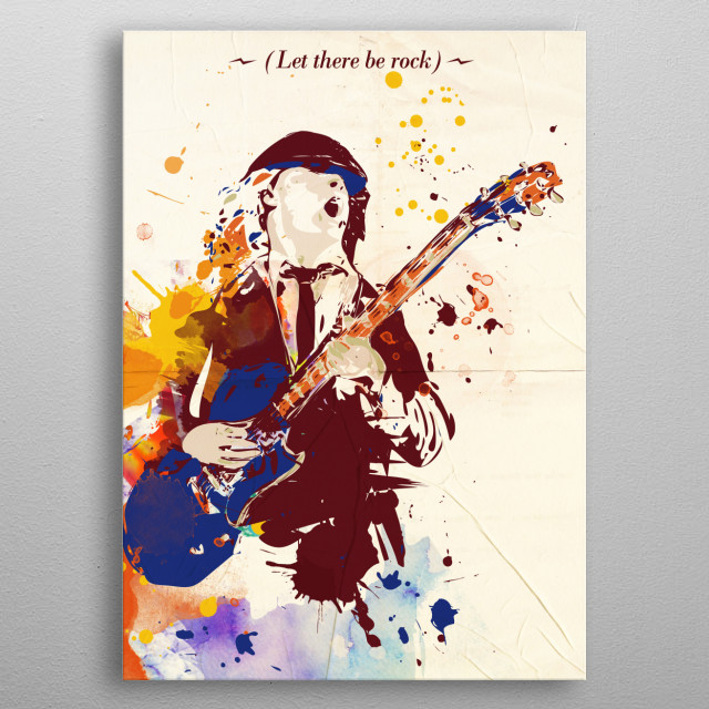 Angus Young ACDC Pop art Style art print. metal poster