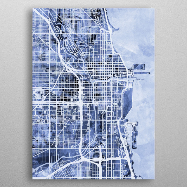 A watercolor street map of Chicago, Illinois, United States metal poster