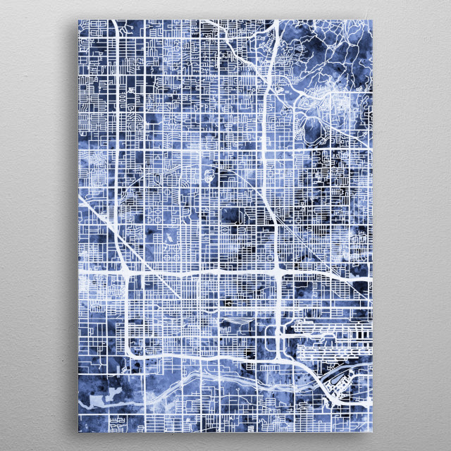 Watercolor street map of Phoenix, Arizona, United States metal poster