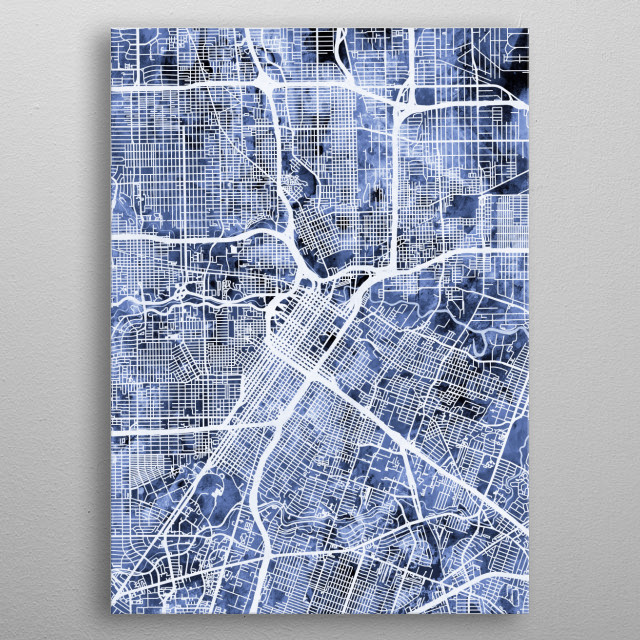 Watercolor street map of Houston, Texas, United States metal poster