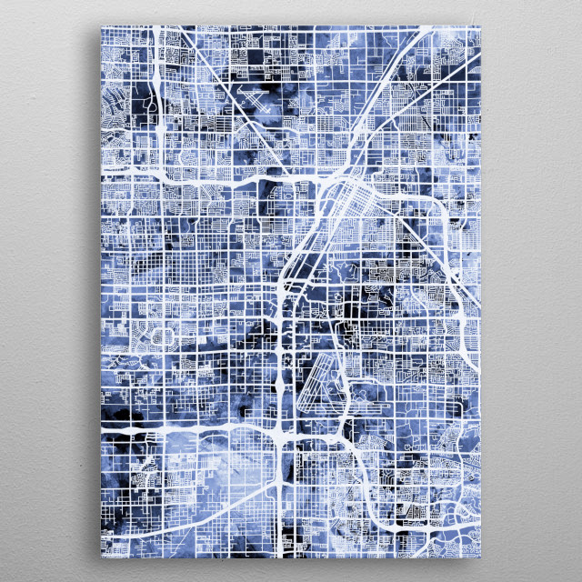 A watercolor street map of Las Vegas, Nevada, United States metal poster