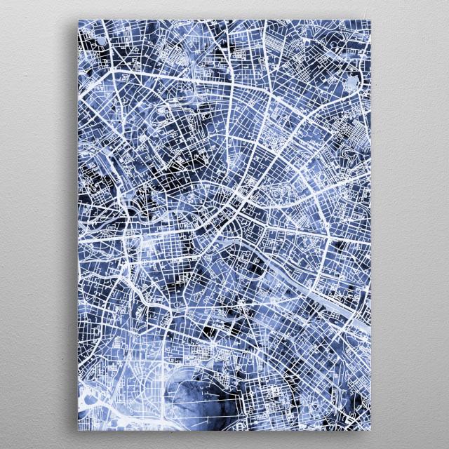Watercolor street map of Berlin, Germany metal poster