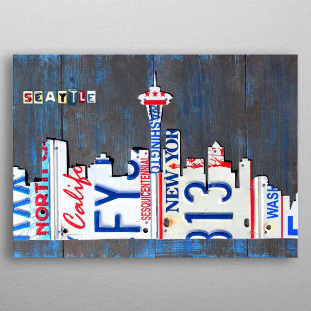 Seattle Skyline Art License Plates metal poster